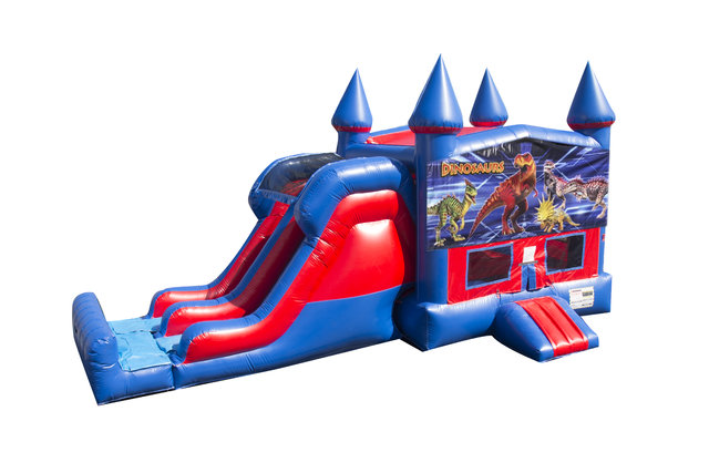 Dinosaur 7' Double Lane Dry Slide With Bounce House