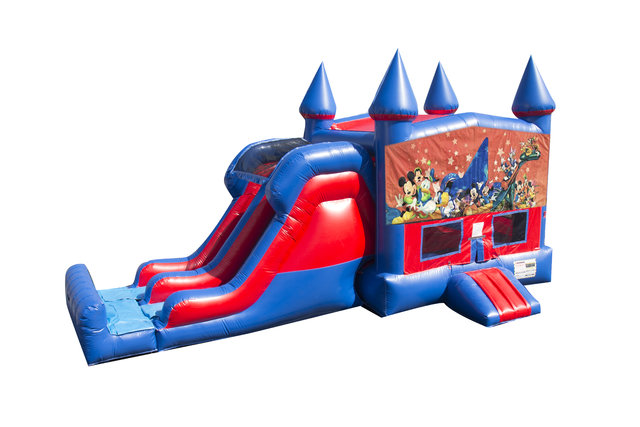 Disney Characters 7' Double Lane Dry Slide With Bounce House