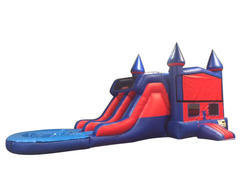 Football 7' Double Lane Water Slide With Bounce House