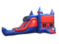 A 7' Double Lane Dry Slide with Bounce House
