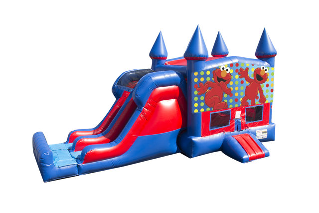 Elmo 7' Double Lane Dry Slide With Bounce House