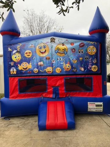 Emoji Bounce House with Basketball Goal