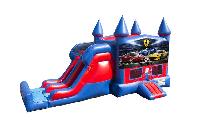 Ferrari 7' Double Lane Dry Slide With Bounce House