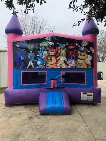 Five Nights At Freddy's Fun Jump (Pink) with Basketball Goal