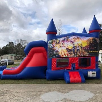 Goosebumps 7' Double Lane Dry Slide With Bounce House