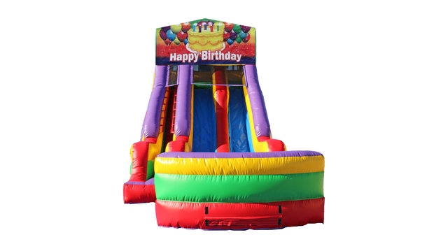 Happy Birthday Cake 18' Double Lane Dry Slide
