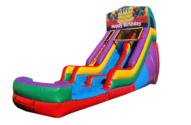 Super Happy Birthday Cake 18 Double Lane Water Slide Inflatable Fun Birthday Cards Printable Riciscafe Filternl