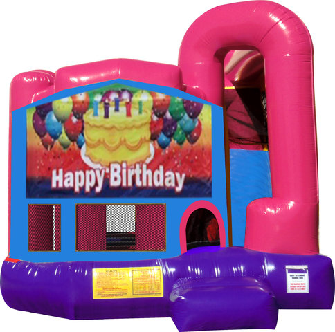 Happy Birthday Cake 4N1 Inflatable Combo Fun Jump (Pink)