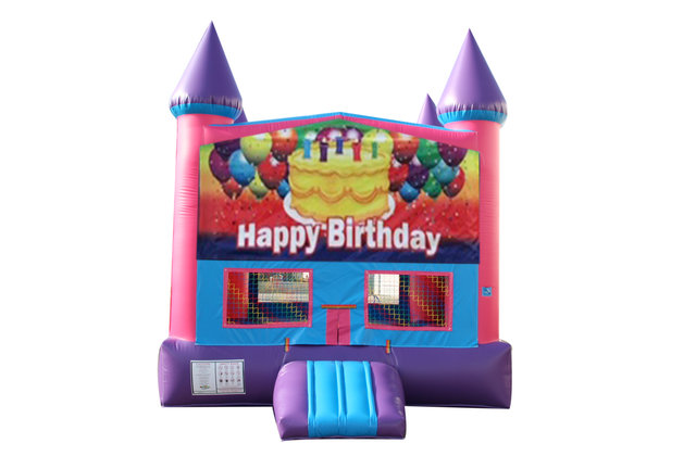 Happy Birthday Cake Fun Jump (Pink) with Basketball Goal
