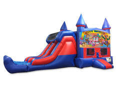 Happy Birthday 7' Double Lane Dry Slide Bounce House Combo
