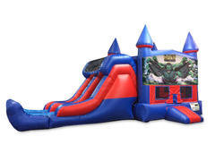 Incredible Hulk 7' Double Lane Dry Slide Bounce House Combo