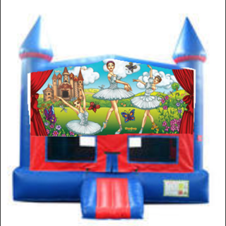 Ballerina Bounce House with Basketball Goal