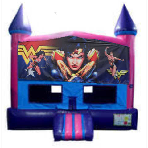 Wonder Woman Fun Jump (Pink) House with Basketball Goal