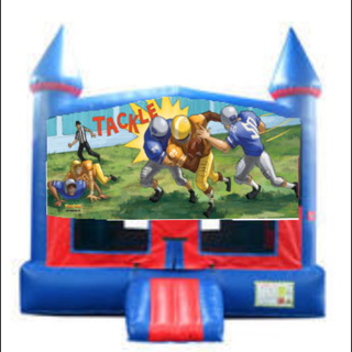 Football Bounce House with Basketball Goal