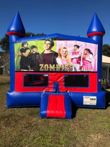 Zombies Bounce House with Basketball Goal