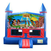Hawaiian Luau Bounce House With Basketball Goal