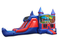 Hawaiian Luau 7' Double Lane Dry Slide Bounce House Combo