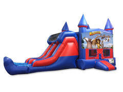 Madagascar 7' Double Lane Dry Slide Bounce House Combo