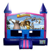 Madagascar Bounce House (Pink) with Basketball Goal