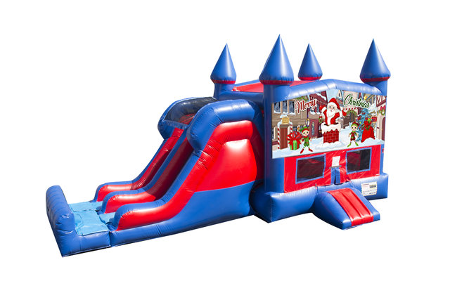 Merry Christmas 7' Double Lane Dry Slide With Bounce House