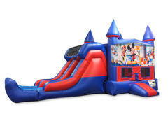 Mickey's Fun Factory 7' Double Lane Dry Slide With Bounce House