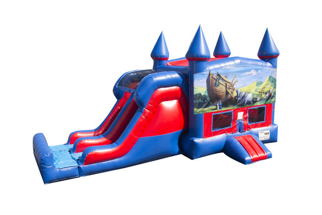 Noah's Ark 7' Double Lane Dry Slide Bounce House Combo