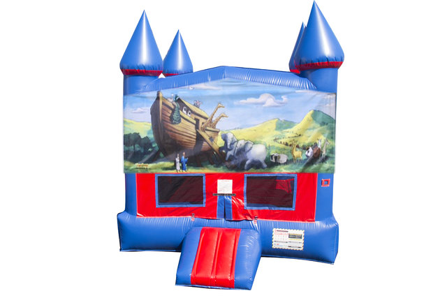 Noah's Ark Bounce House With Basketball Goal
