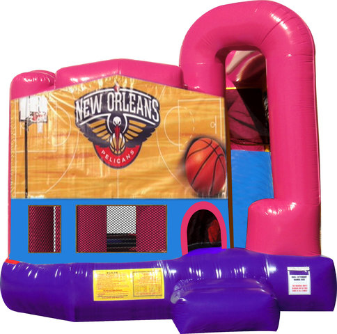 Pelicans Basketball 4N1 Bounce House Combo (Pink)