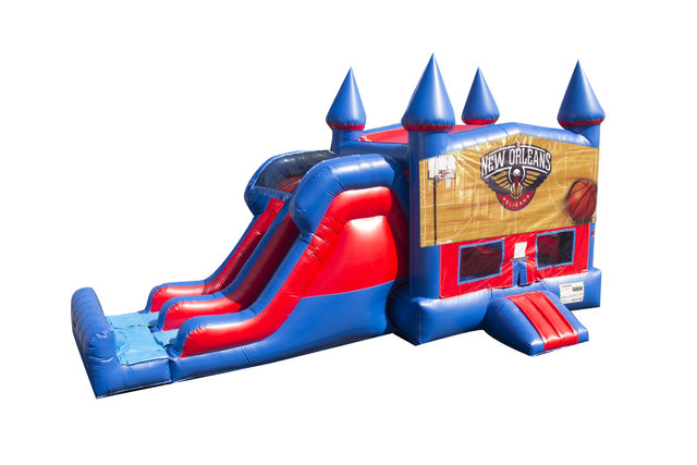 Pelicans Basketball 7' Double Lane Dry Slide With Bounce House