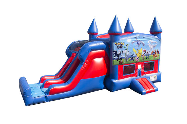 Pokemon 7' Double Lane Dry Slide With Bounce House