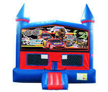 Stock Car Racing Bounce House with Basketball Goal