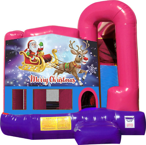 Santa and Rudolph 4N1 Bounce House Combo (Pink)