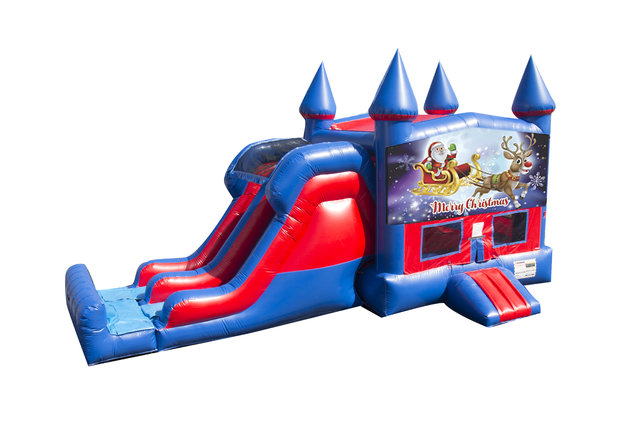 Santa and Rudolph 7' Double Lane Dry Slide With Bounce House