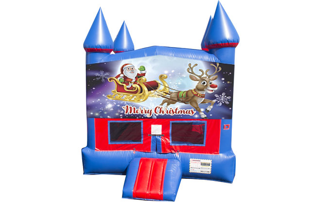 Santa and Rudolph Bounce House with Basketball Goal