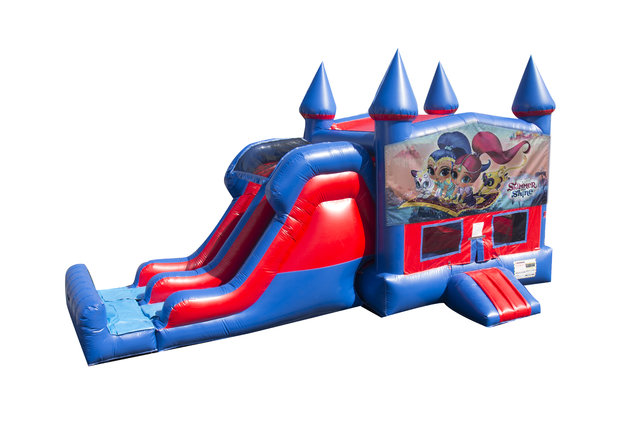 Shimmer and Shine 7' Double Lane Dry Slide With Bounce House