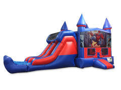 Spiderman 7' Double Lane Dry Slide With Bounce House