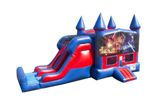 Star Wars 7' Double Lane Dry Slide With Bounce House