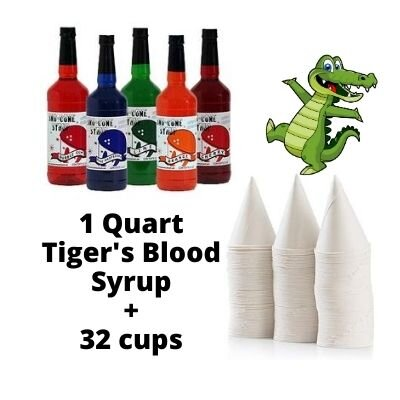 Tiger's Blood Snow Cone Flavor Syrup and Serving Cones