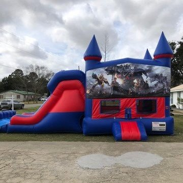 Transformers 7' Double Lane Dry Slide With Bounce House