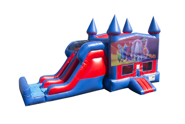 Trolls 7' Double Lane Dry Slide With Bounce House
