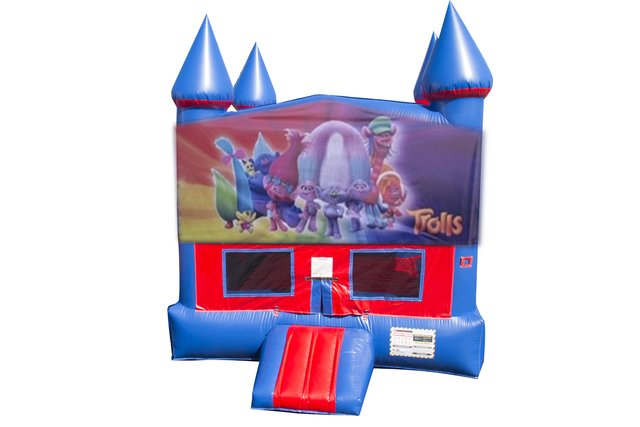 Trolls Bounce House With Basketball Goal