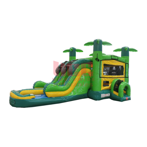 Tropical Double Lane Bounce House With Slide