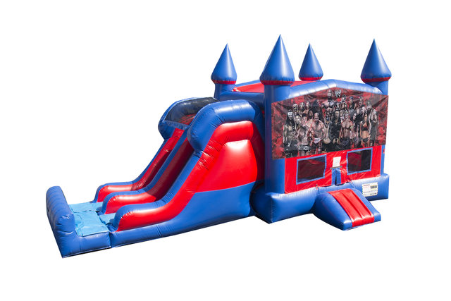 Wrestlers 7' Double Lane Dry Slide With Bounce House