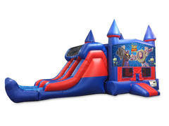 Toy Story 7' Double Lane Dry Slide With Bounce House