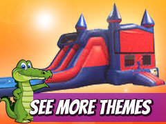 7' Module Double Lane Water Slide With Bounce House