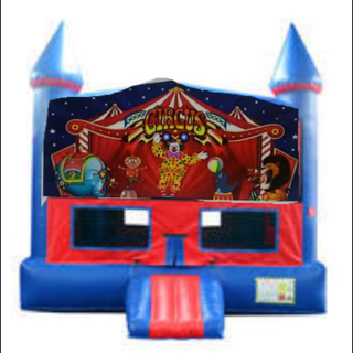 Circus Bounce House with Basketball Goal