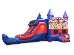 Circus 7' Double Lane Dry Slide With Bounce House