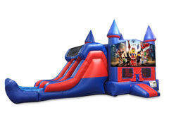 Legos 7' Double Lane Dry Slide Bounce House Combo