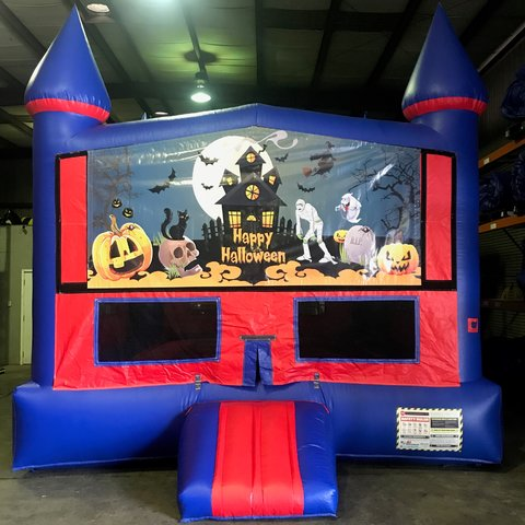Happy Halloween Bounce House With Basketball Goal