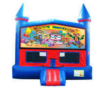Happy Birthday Bounce House with Basketball Goal
